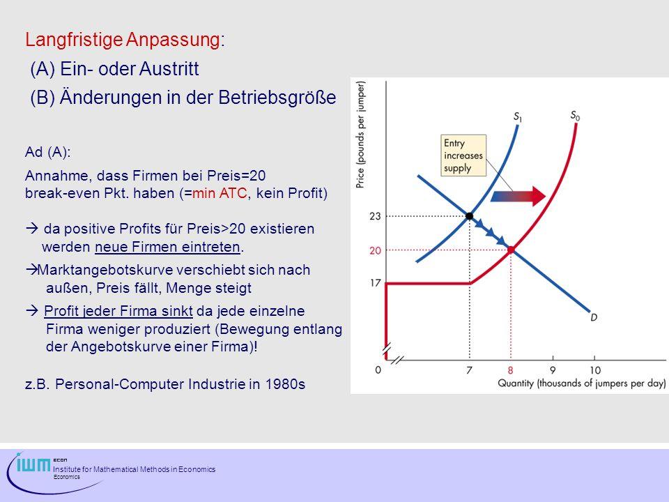 Langfristige Anpassung: (A) Ein- oder Austritt