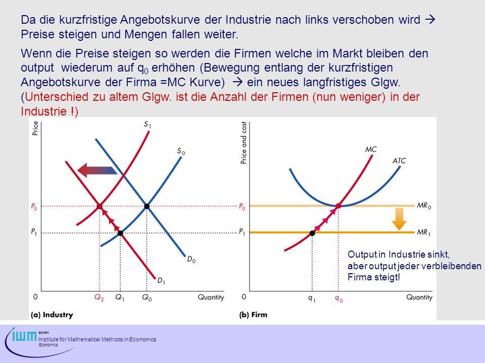 Da die kurzfristige Angebotskurve der Industrie nach links verschoben wird  Preise steigen und Mengen fallen weiter.
