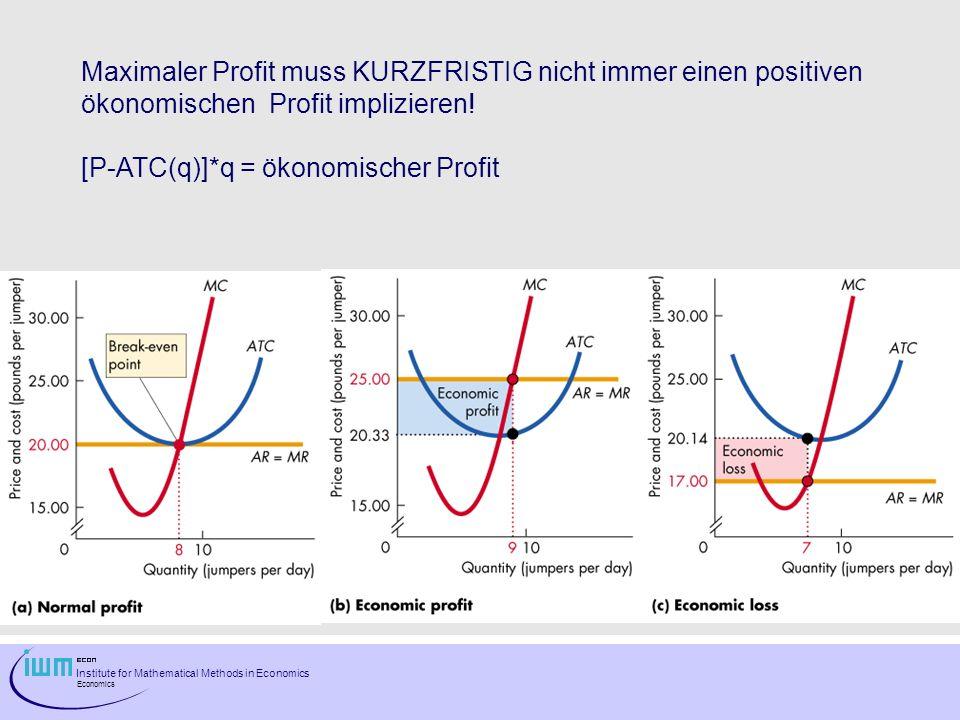Maximaler Profit muss KURZFRISTIG nicht immer einen positiven ökonomischen Profit implizieren!