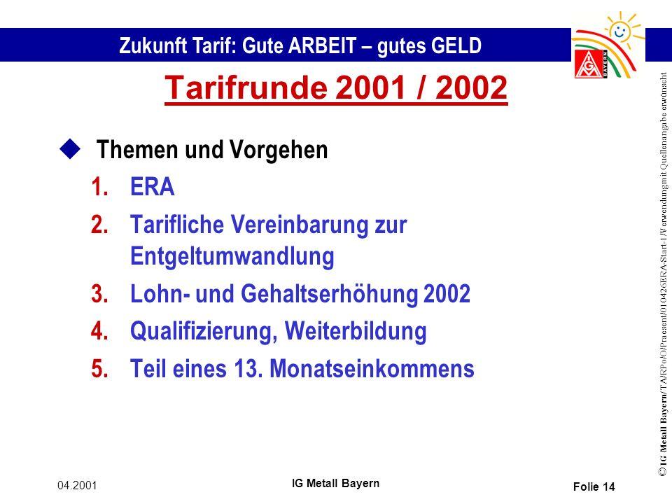Tarifrunde 2001 / 2002 Themen und Vorgehen ERA