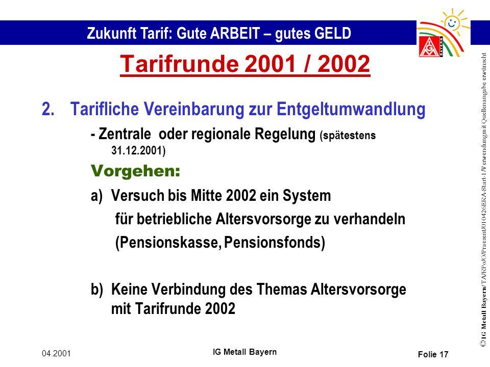 Tarifrunde 2001 / 2002 2. Tarifliche Vereinbarung zur Entgeltumwandlung. - Zentrale oder regionale Regelung (spätestens 31.12.2001)