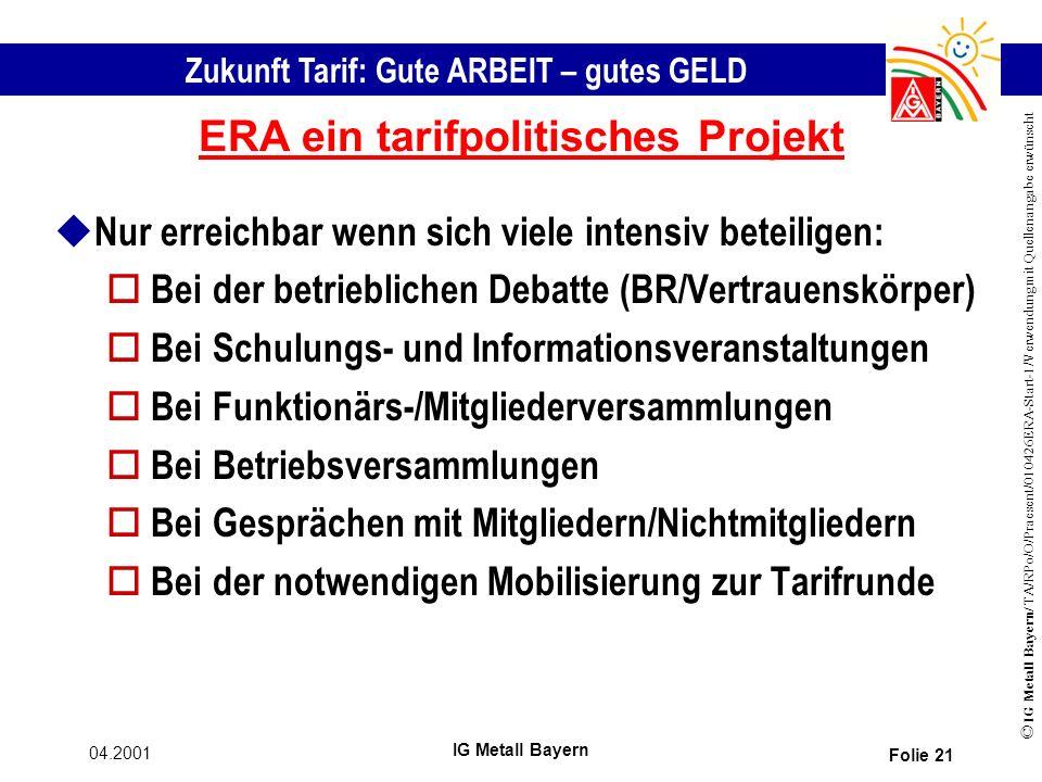 ERA ein tarifpolitisches Projekt