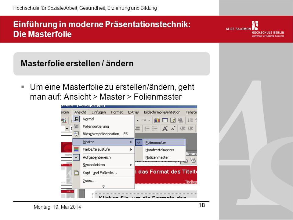 Einführung in moderne Präsentationstechnik: Die Masterfolie