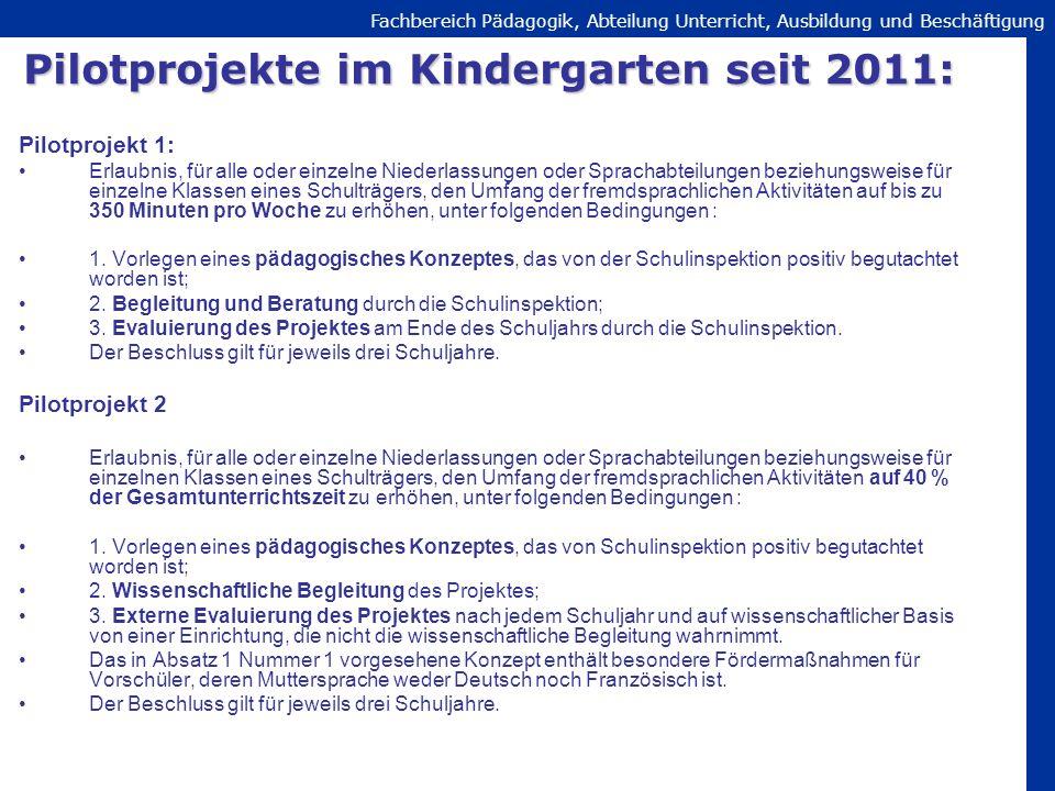 Pilotprojekte im Kindergarten seit 2011: