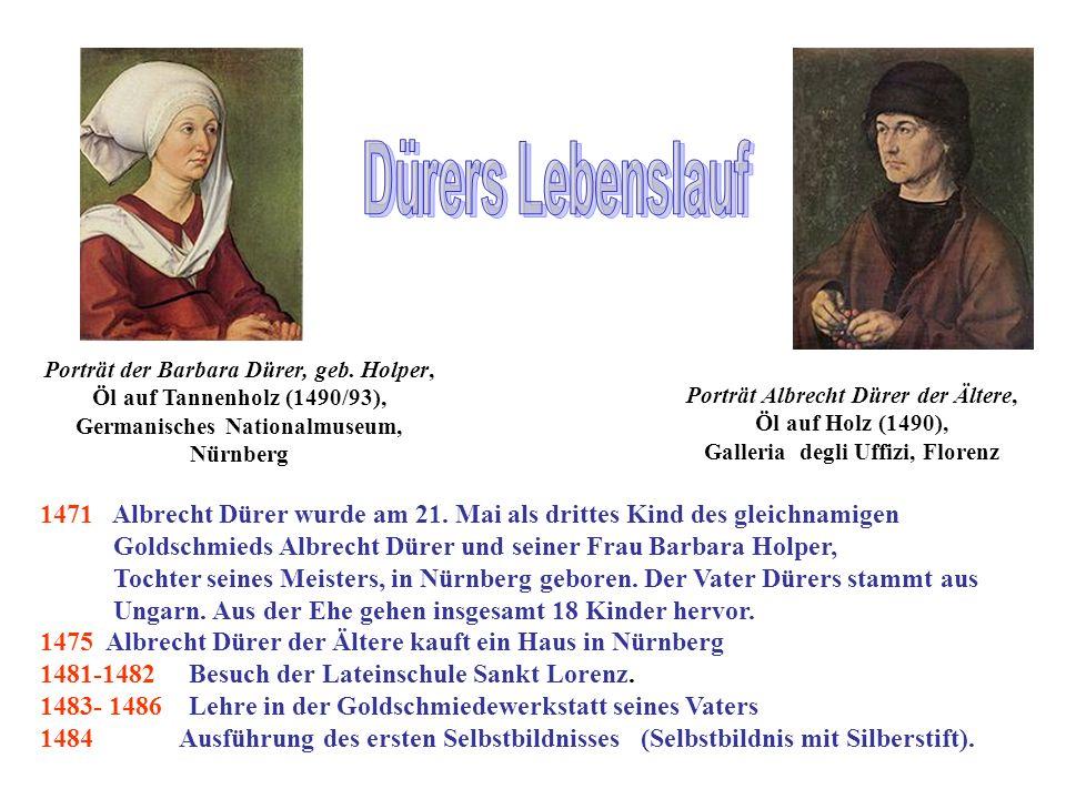 Dürers Lebenslauf Porträt der Barbara Dürer, geb. Holper, Öl auf Tannenholz (1490/93), Germanisches Nationalmuseum,
