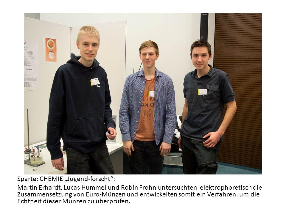 """Sparte: CHEMIE """"Jugend-forscht : Martin Erhardt, Lucas Hummel und Robin Frohn untersuchten elektrophoretisch die Zusammensetzung von Euro-Münzen und entwickelten somit ein Verfahren, um die Echtheit dieser Münzen zu überprüfen."""