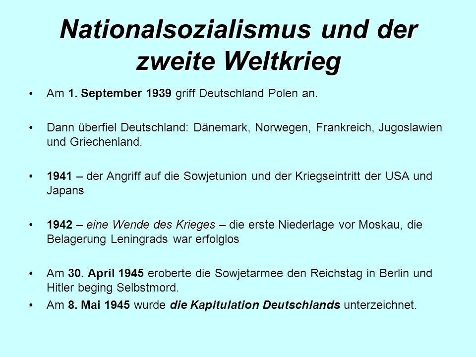 Nationalsozialismus und der zweite Weltkrieg