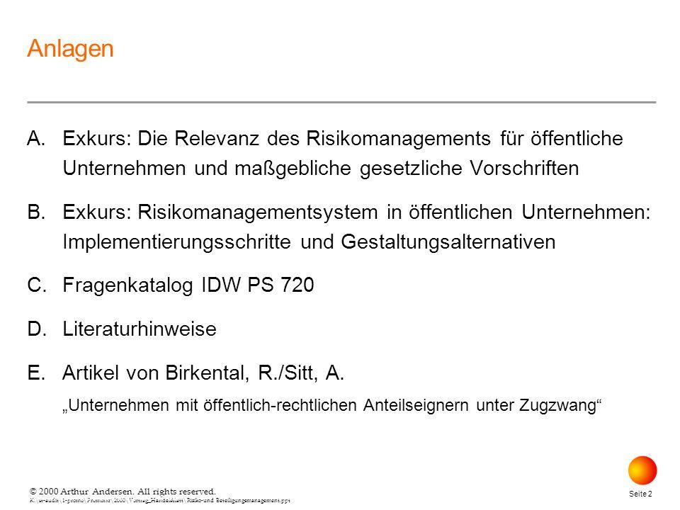 Anlagen A. Exkurs: Die Relevanz des Risikomanagements für öffentliche Unternehmen und maßgebliche gesetzliche Vorschriften.