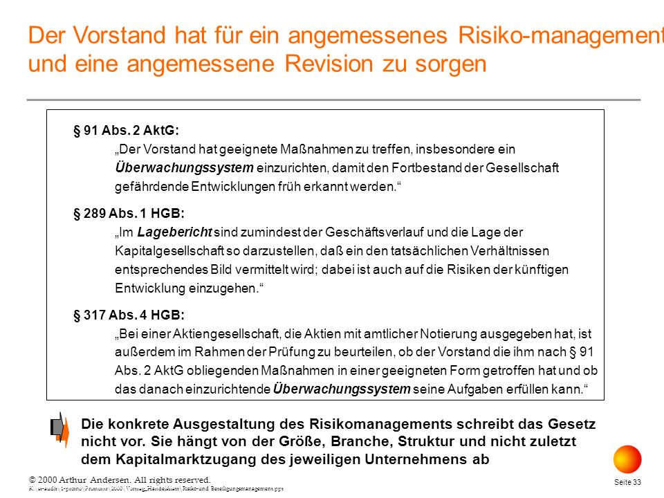 April 26, 2000 Der Vorstand hat für ein angemessenes Risiko-management und eine angemessene Revision zu sorgen.