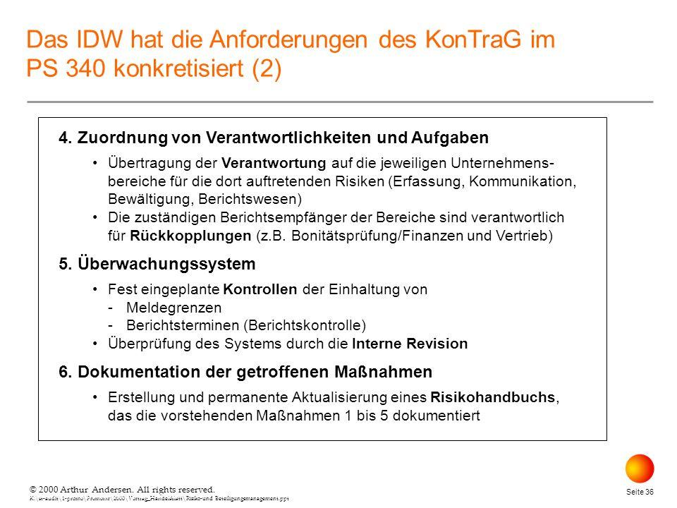 Das IDW hat die Anforderungen des KonTraG im PS 340 konkretisiert (2)