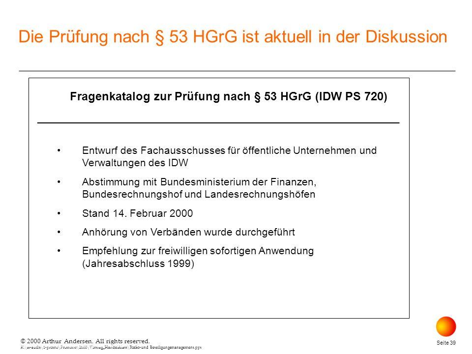 Fragenkatalog zur Prüfung nach § 53 HGrG (IDW PS 720)