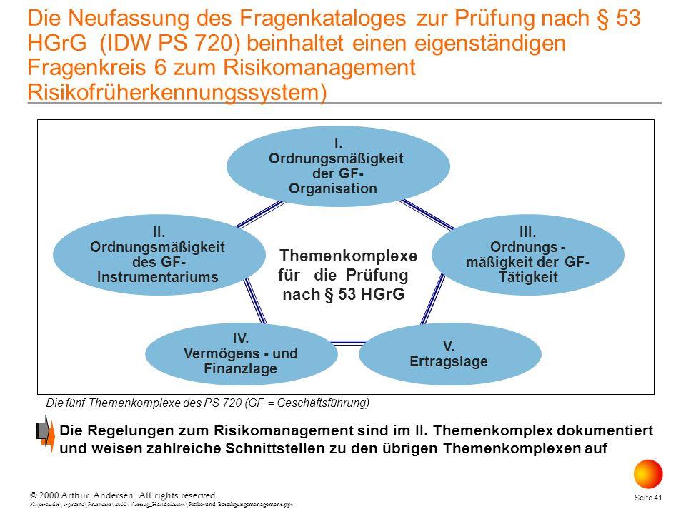 Die Neufassung des Fragenkataloges zur Prüfung nach § 53 HGrG (IDW PS 720) beinhaltet einen eigenständigen Fragenkreis 6 zum Risikomanagement Risikofrüherkennungssystem)