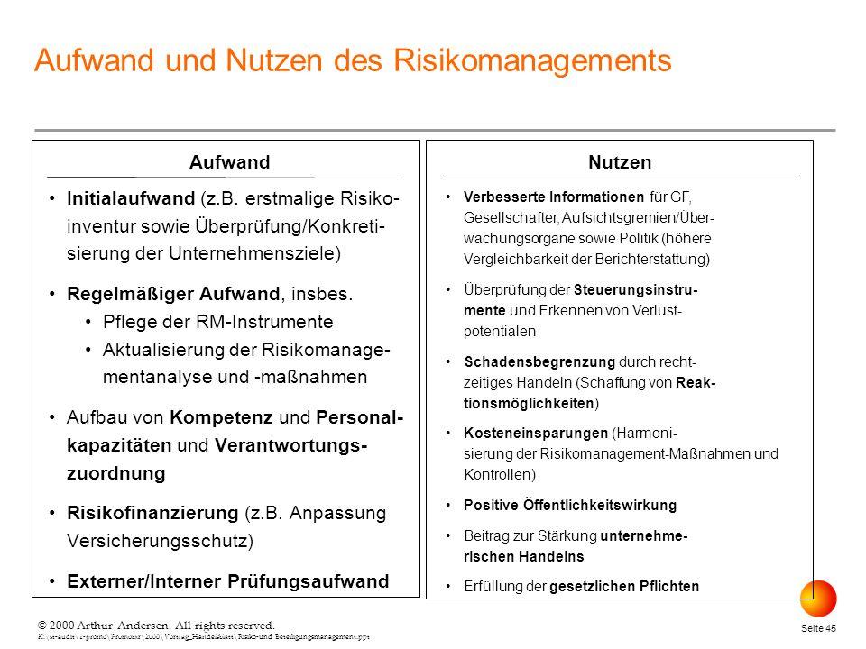 Aufwand und Nutzen des Risikomanagements