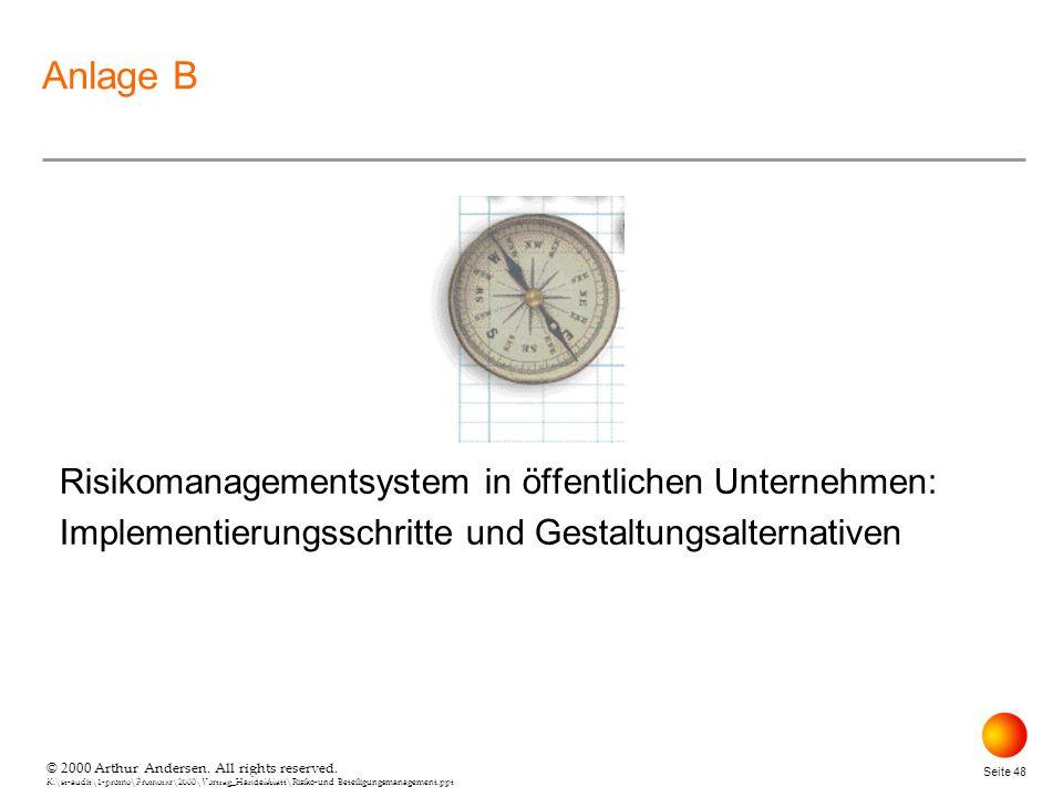 April 26, 2000 Anlage B. Risikomanagementsystem in öffentlichen Unternehmen: Implementierungsschritte und Gestaltungsalternativen.