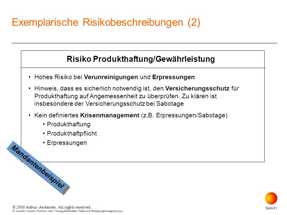 Risiko Produkthaftung/Gewährleistung