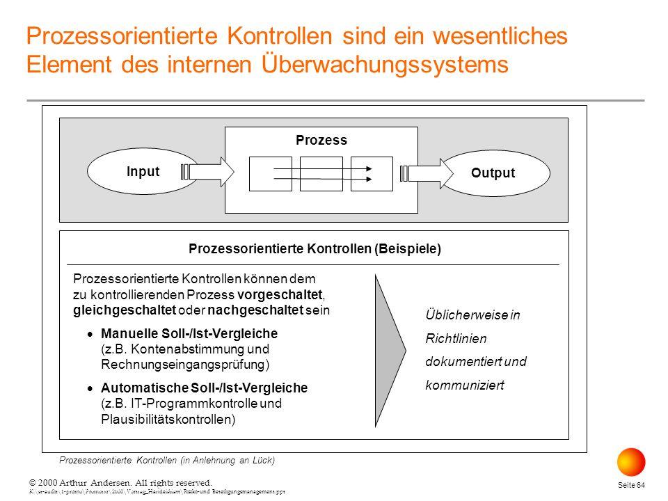 Prozessorientierte Kontrollen (Beispiele)