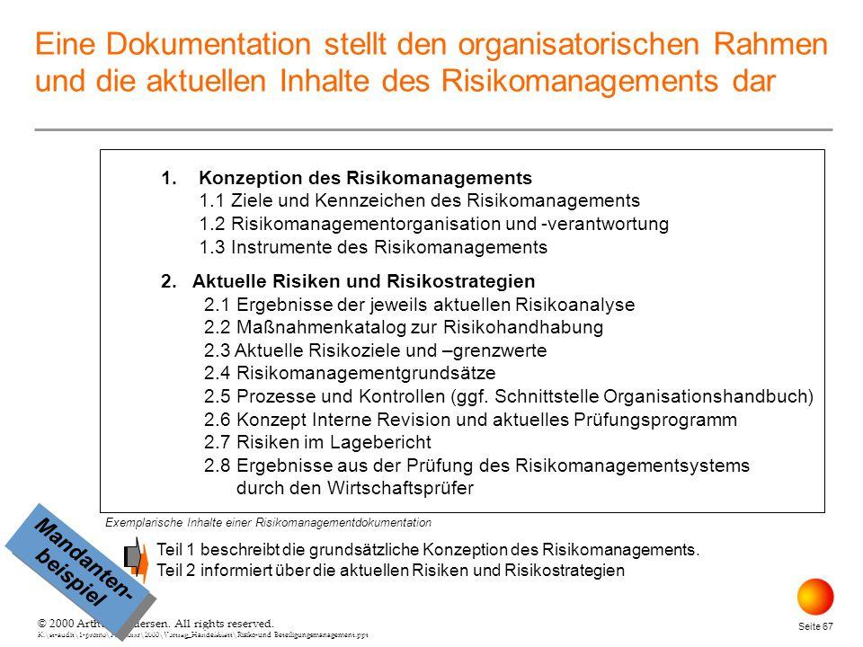 April 26, 2000 Eine Dokumentation stellt den organisatorischen Rahmen und die aktuellen Inhalte des Risikomanagements dar.