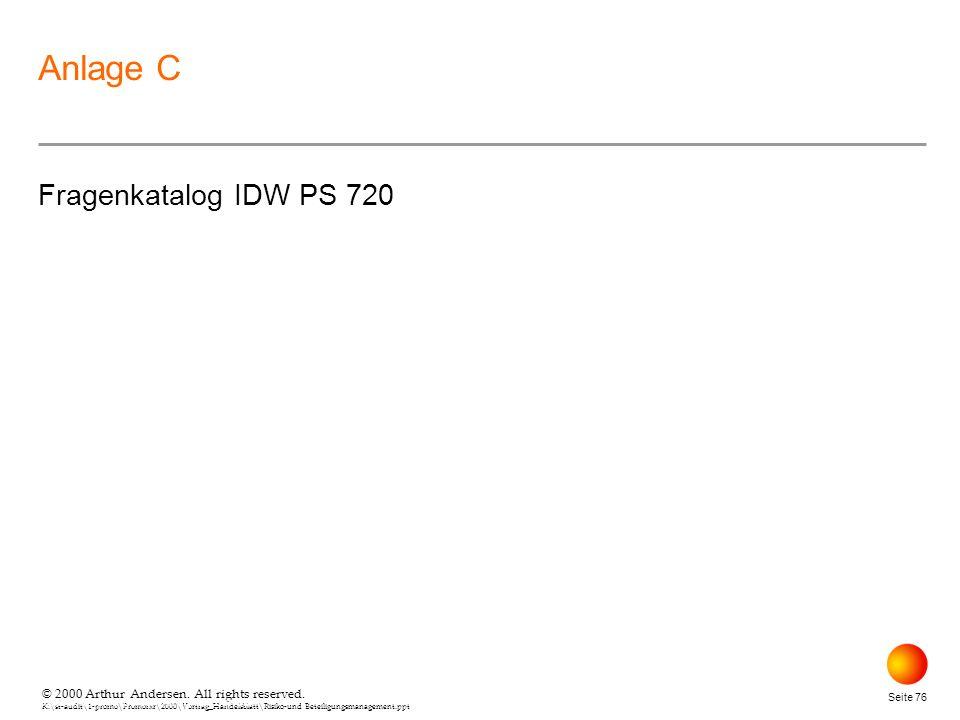 Anlage C Fragenkatalog IDW PS 720