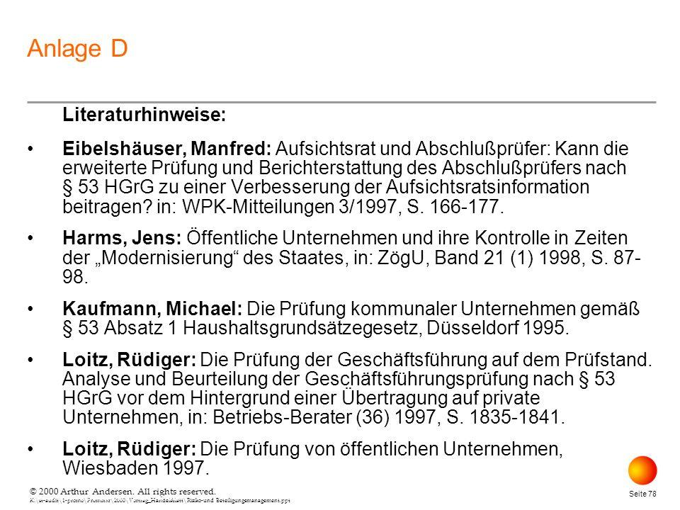 Anlage D Literaturhinweise: