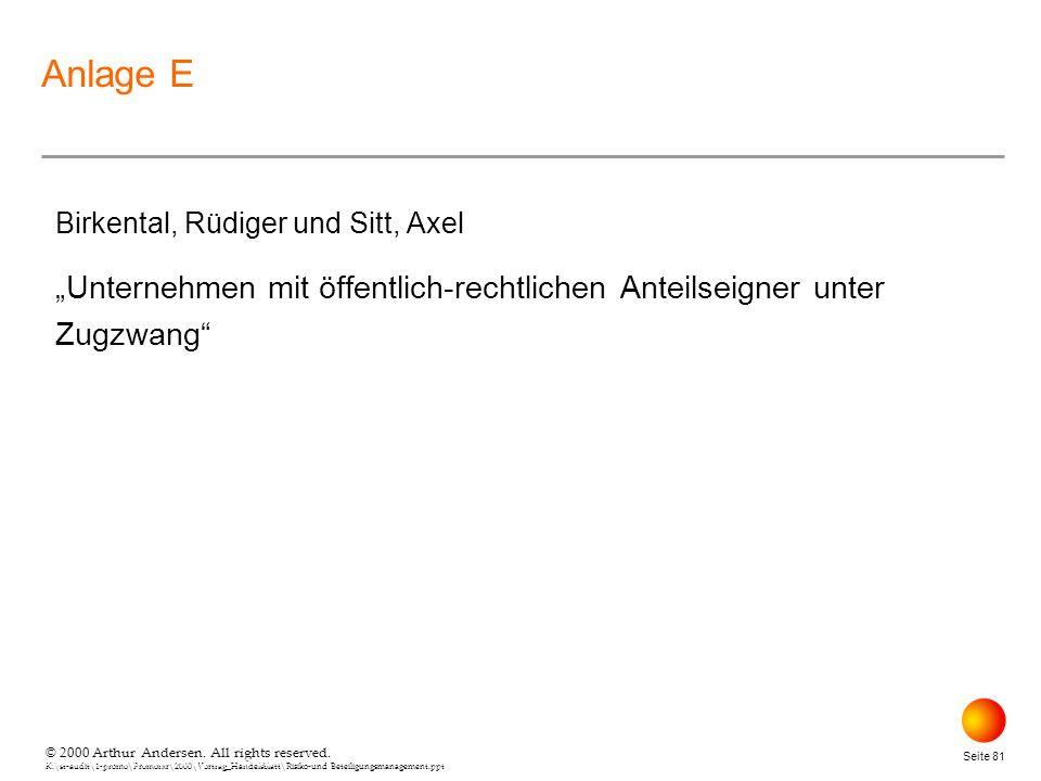 """Anlage E Birkental, Rüdiger und Sitt, Axel. """"Unternehmen mit öffentlich-rechtlichen Anteilseigner unter Zugzwang"""