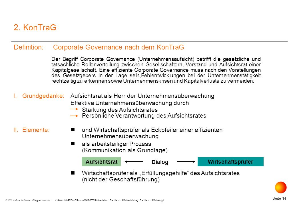 2. KonTraG Definition: Corporate Governance nach dem KonTraG