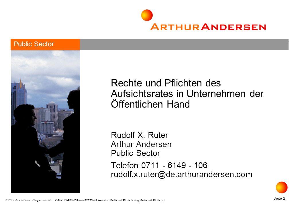 Public Sector Rechte und Pflichten des Aufsichtsrates in Unternehmen der Öffentlichen Hand. Rudolf X. Ruter Arthur Andersen Public Sector.