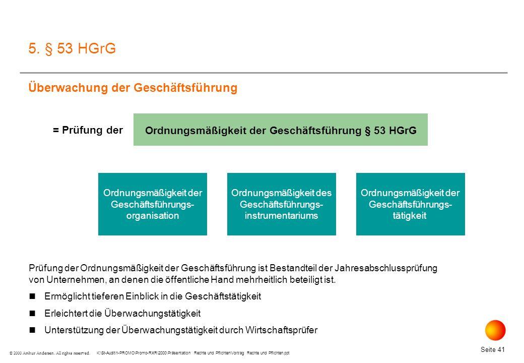 Ordnungsmäßigkeit der Geschäftsführung § 53 HGrG