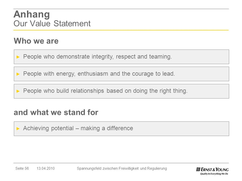 Anhang Our Value Statement