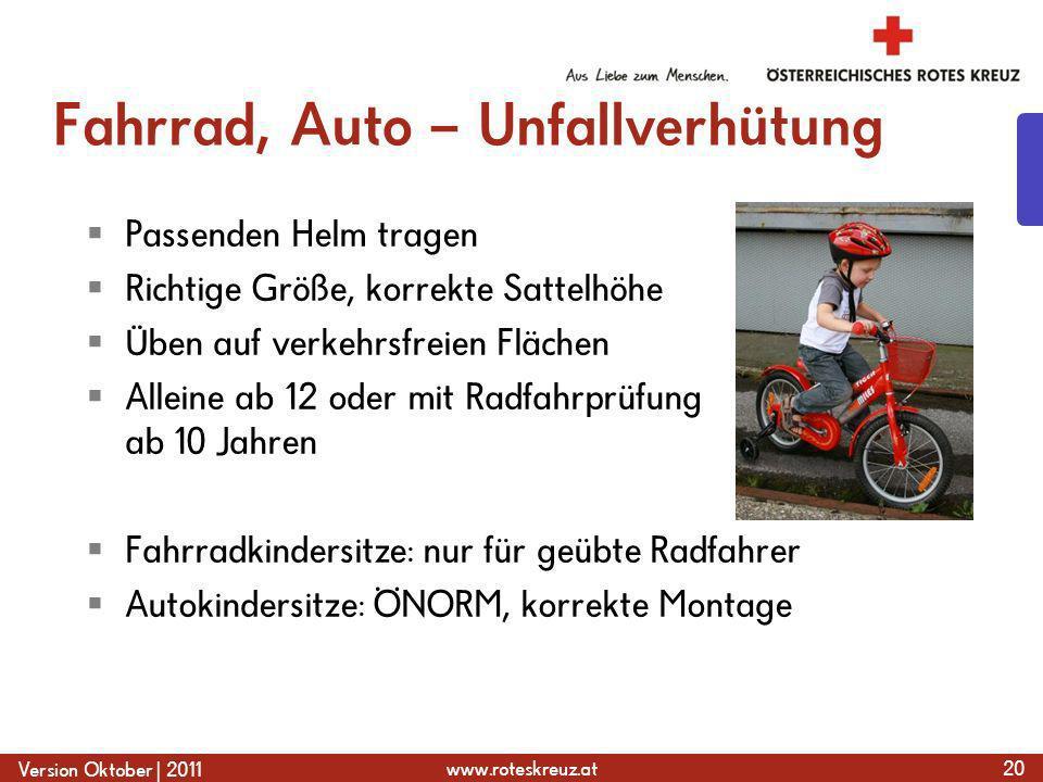 Fahrrad, Auto – Unfallverhütung
