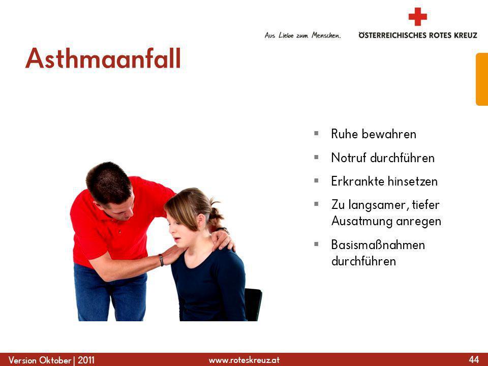 Asthmaanfall Ruhe bewahren Notruf durchführen Erkrankte hinsetzen