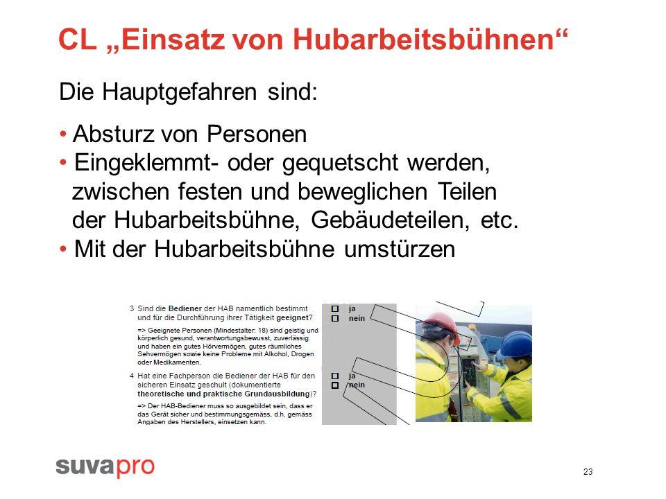 """CL """"Einsatz von Hubarbeitsbühnen"""