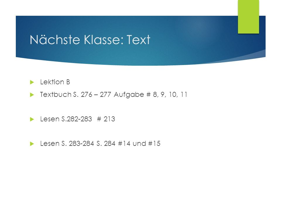 Nächste Klasse: Text Lektion B