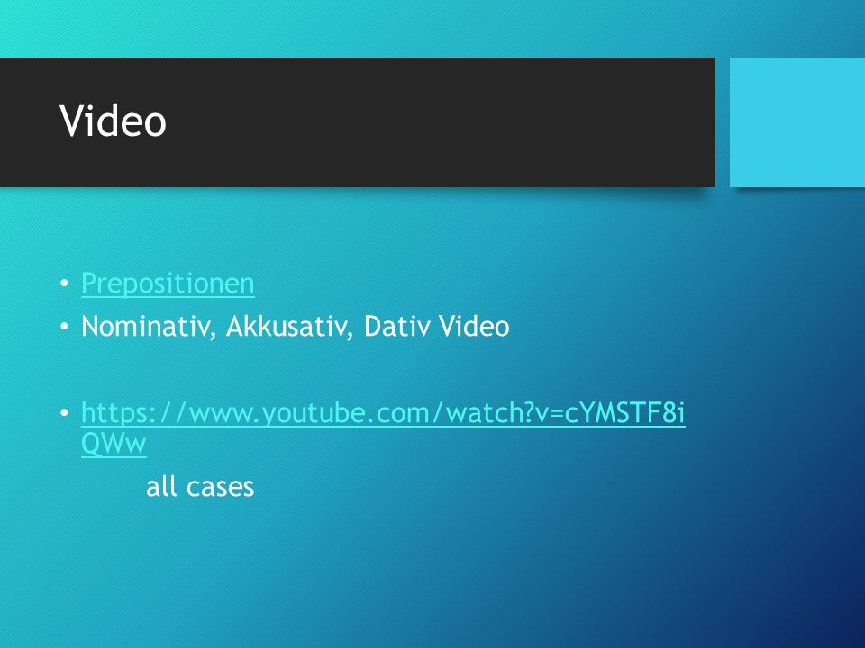 Video Prepositionen Nominativ, Akkusativ, Dativ Video