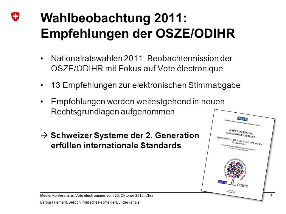 Wahlbeobachtung 2011: Empfehlungen der OSZE/ODIHR