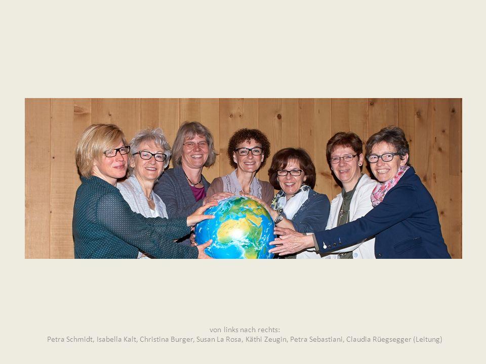 von links nach rechts: Petra Schmidt, Isabella Kalt, Christina Burger, Susan La Rosa, Käthi Zeugin, Petra Sebastiani, Claudia Rüegsegger (Leitung)