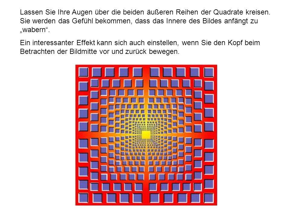 """Lassen Sie Ihre Augen über die beiden äußeren Reihen der Quadrate kreisen. Sie werden das Gefühl bekommen, dass das Innere des Bildes anfängt zu """"wabern ."""