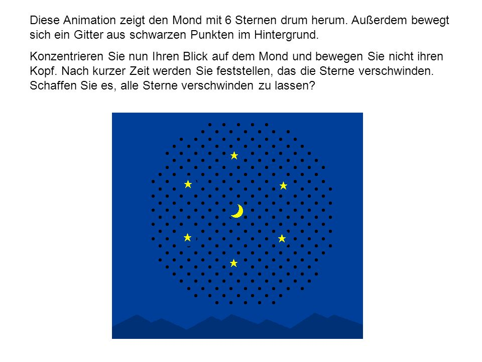 Diese Animation zeigt den Mond mit 6 Sternen drum herum