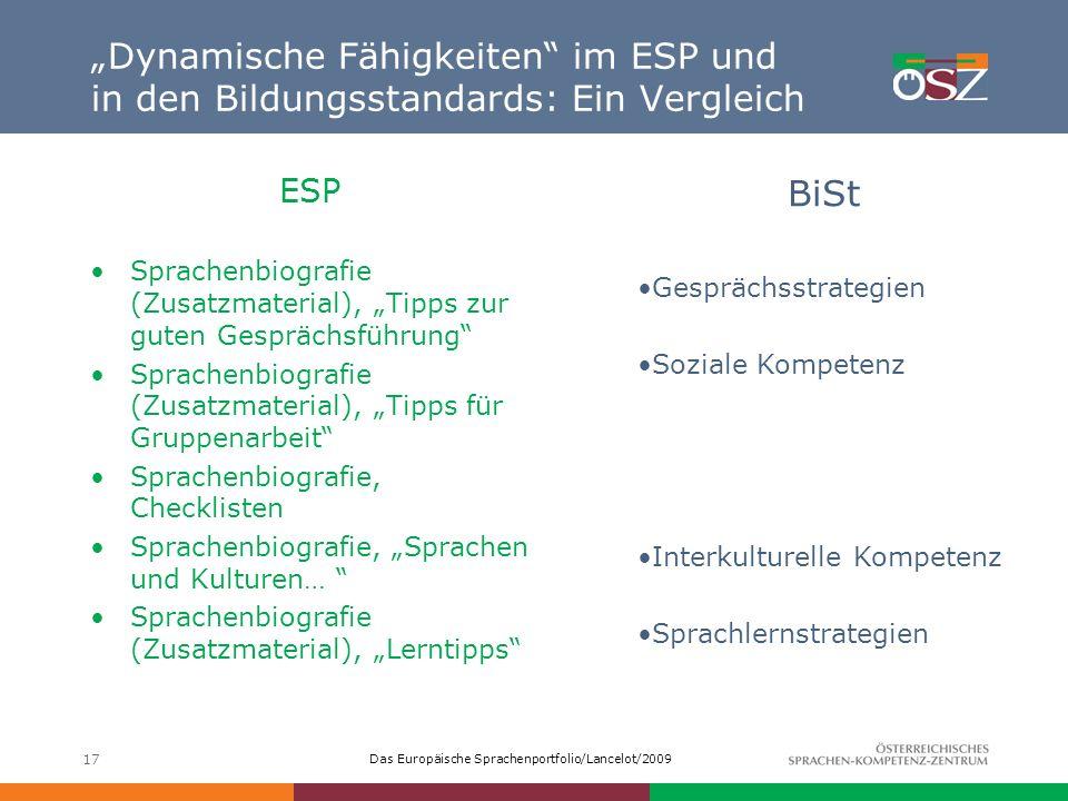 """""""Dynamische Fähigkeiten im ESP und in den Bildungsstandards: Ein Vergleich"""