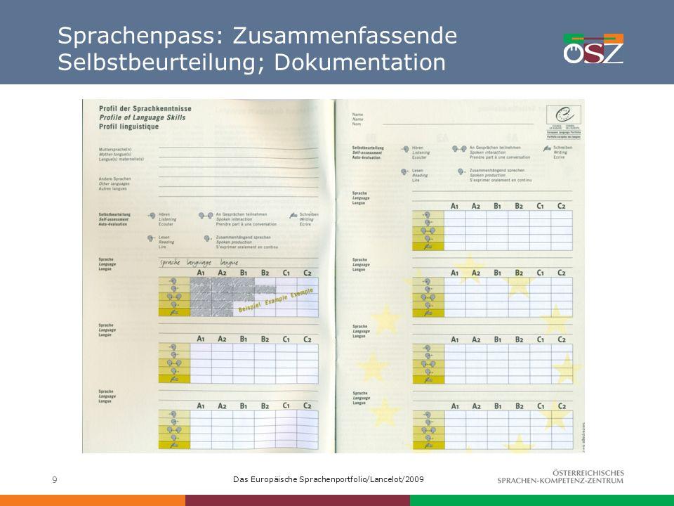 Sprachenpass: Zusammenfassende Selbstbeurteilung; Dokumentation