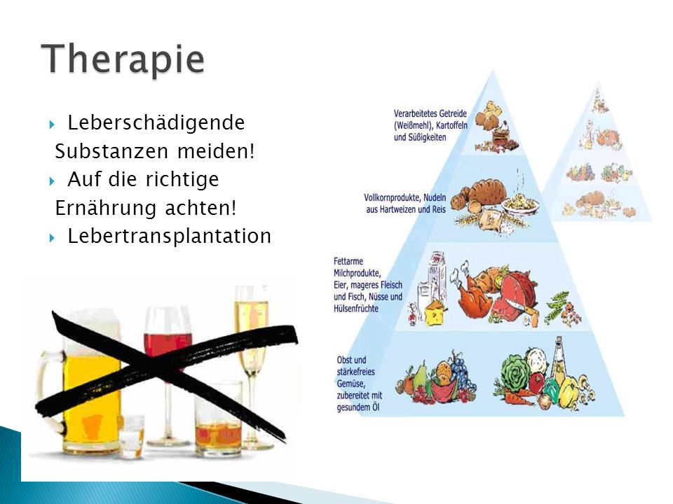Therapie Leberschädigende Substanzen meiden! Auf die richtige