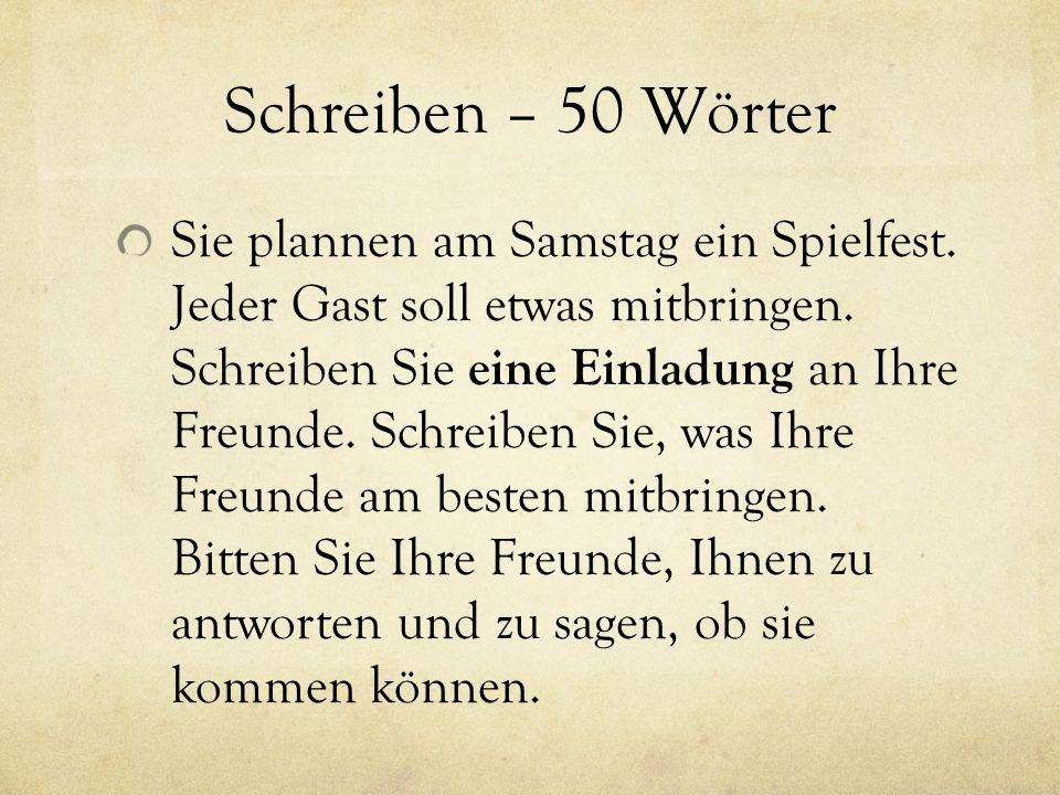 Schreiben – 50 Wörter