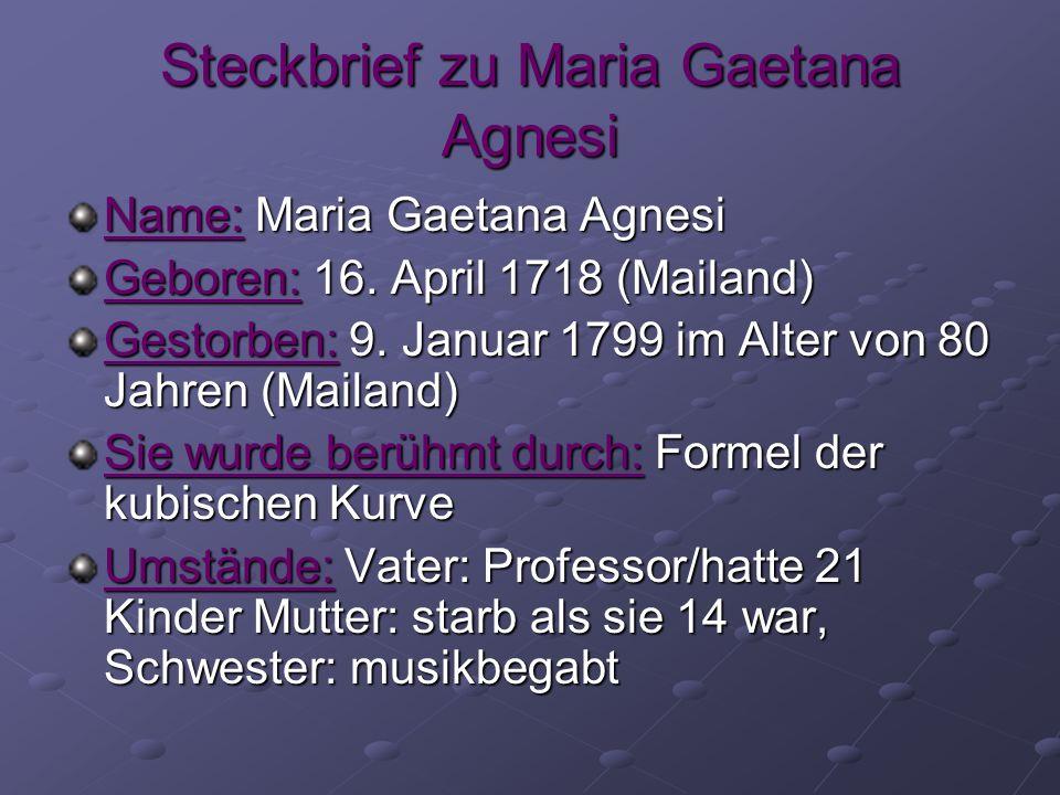 Steckbrief zu Maria Gaetana Agnesi