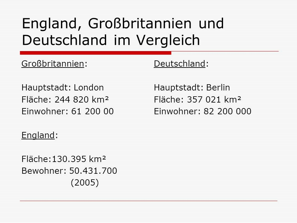 England, Großbritannien und Deutschland im Vergleich