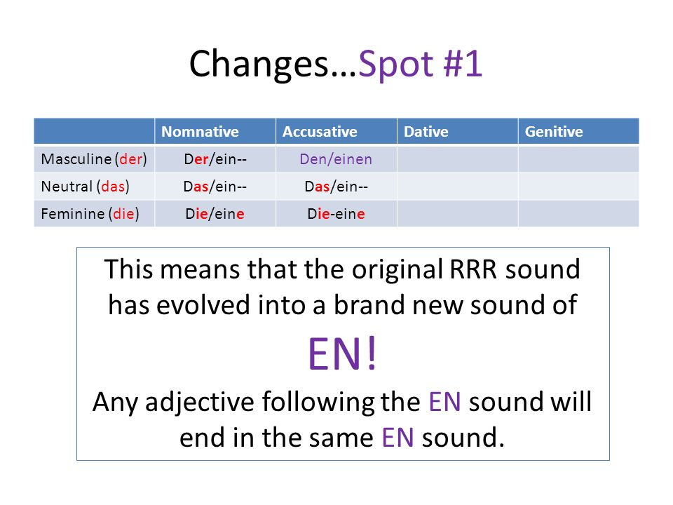 Any adjective following the EN sound will end in the same EN sound.