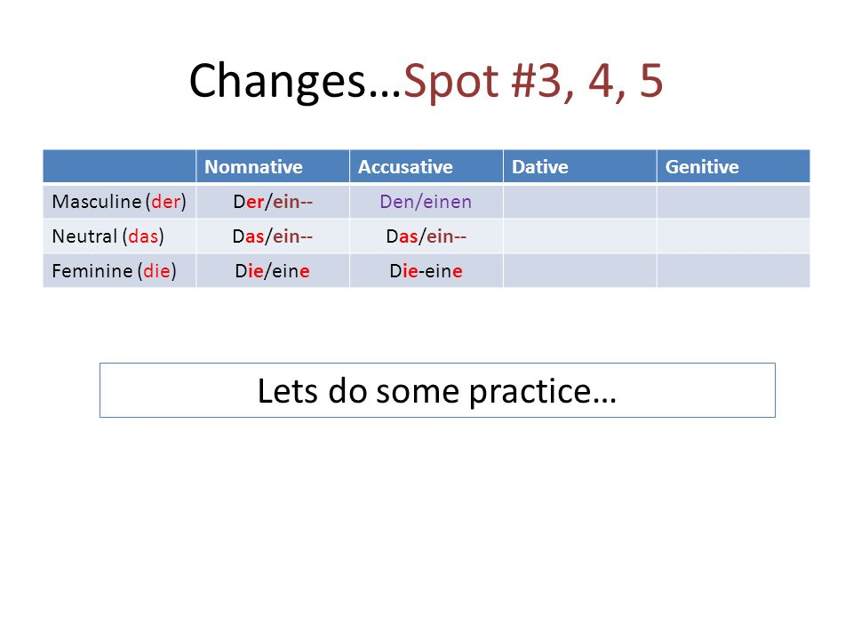 Changes…Spot #3, 4, 5 Lets do some practice… Nomnative Accusative
