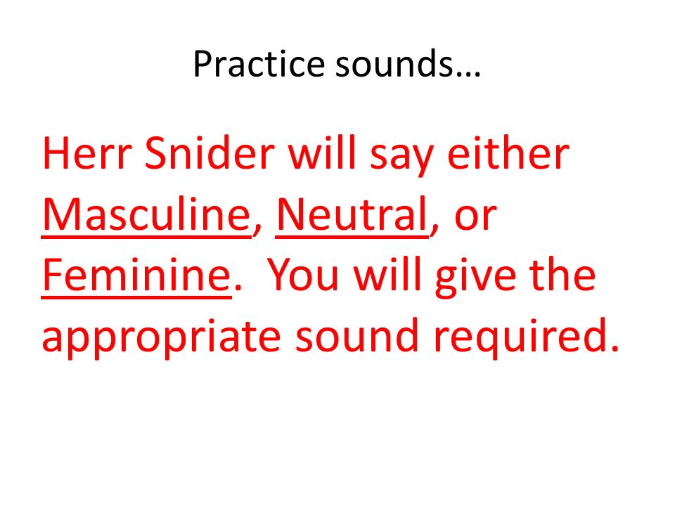 Practice sounds… Herr Snider will say either Masculine, Neutral, or Feminine.