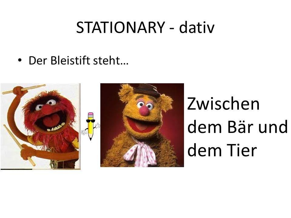 STATIONARY - dativ Der Bleistift steht… Zwischen dem Bär und dem Tier