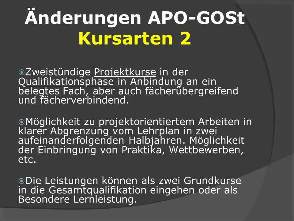 Änderungen APO-GOSt Kursarten 2
