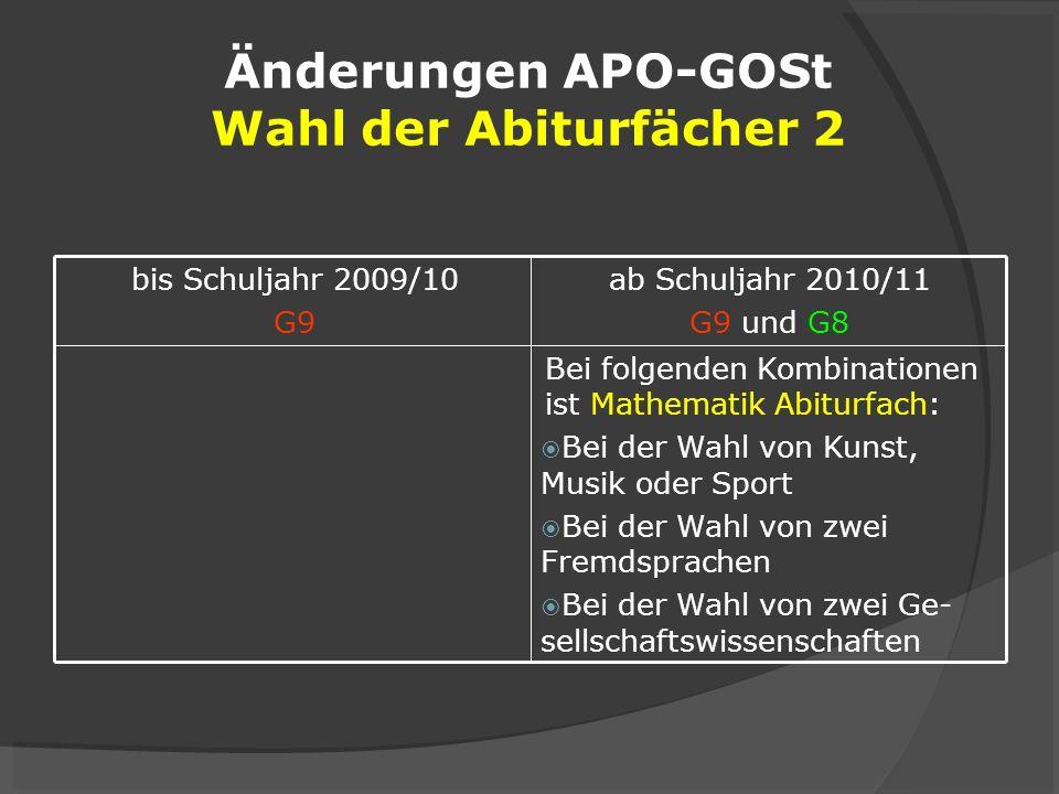 Änderungen APO-GOSt Wahl der Abiturfächer 2
