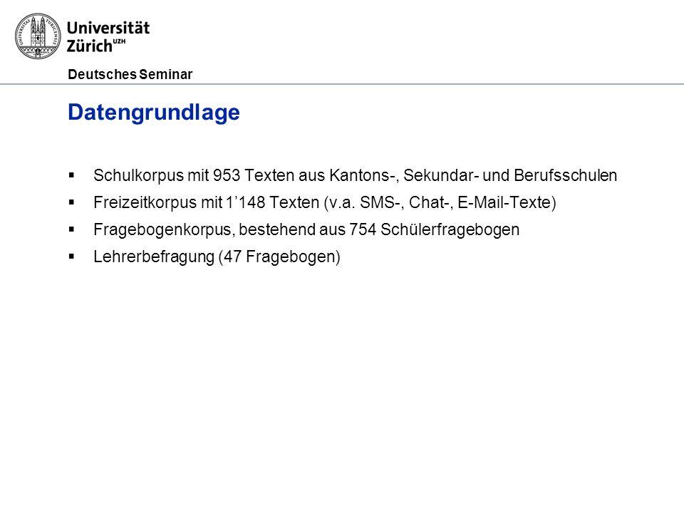 Datengrundlage Schulkorpus mit 953 Texten aus Kantons-, Sekundar- und Berufsschulen.